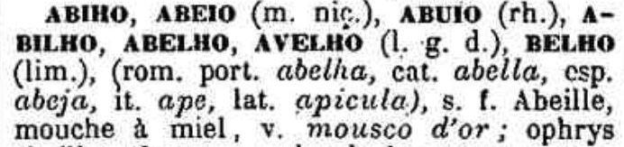 Abiho définitions extraites du livre Lou Tresor dóu Felibrige.